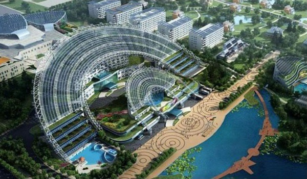 Aspecto moderno y futurista del Sun Moon Mansion en China